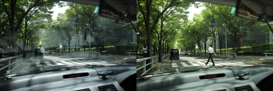 裸眼とTALEXの偏光サングラスの視野の比較