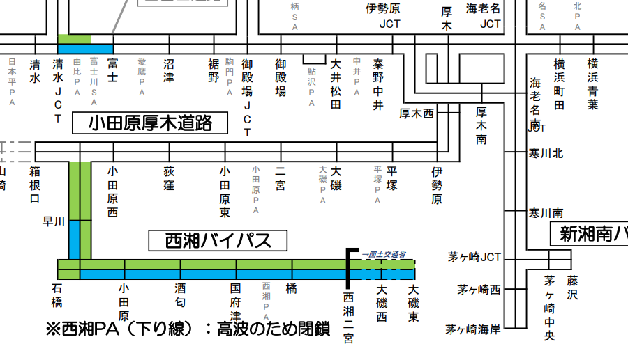 NEXCO中日本・台風19号による通行止め実施区間と可能性のある区間