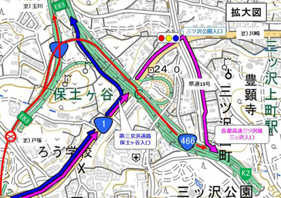 横浜新道上り保土ヶ谷ICの迂回路