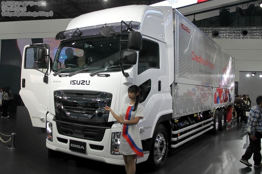 いすゞが東京モーターショー2019に出展した、主力の大型トラック「ギガ」の改良強化モデル。
