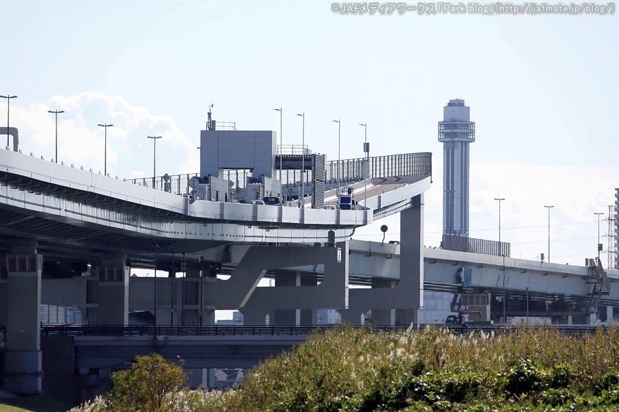 首都高・小松川JCTを荒川河川敷(江戸川区側)のJCTより上流側から11月4日に撮影。急カーブかつ勾配が激しいのがわかる。