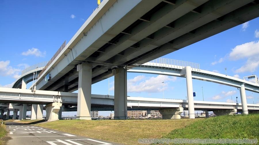 首都高・小松川JCT。荒川河川敷にて下流側から11月4日に撮影。