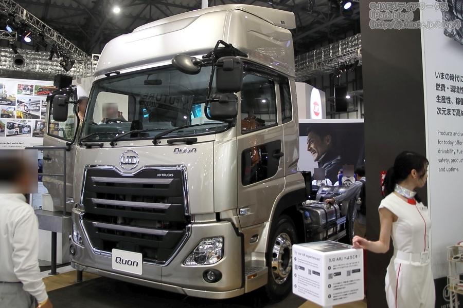 東京モーターショー2019でUDトラックスが出展した市販トラック「クオン GK トラクター」。
