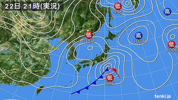 2018年1月22日21時の日本気象協会「tenki.jp」の実況天気図。この時は東京で23cmの降雪量を記録した。