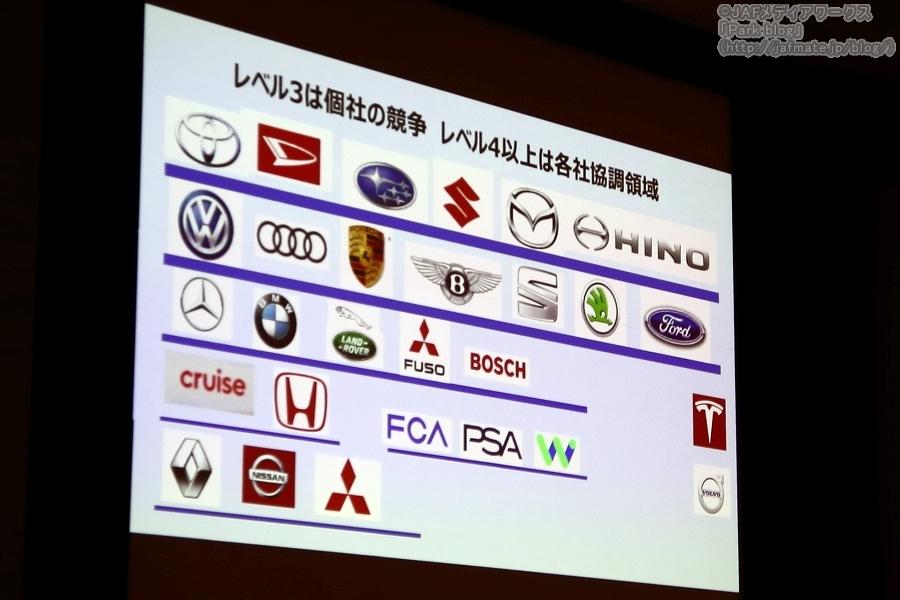 画像2。自動車安全運転シンポジウム2019の特別講演その2のプレゼン画面。自動車メーカーの自動運転技術でのグループ分け。