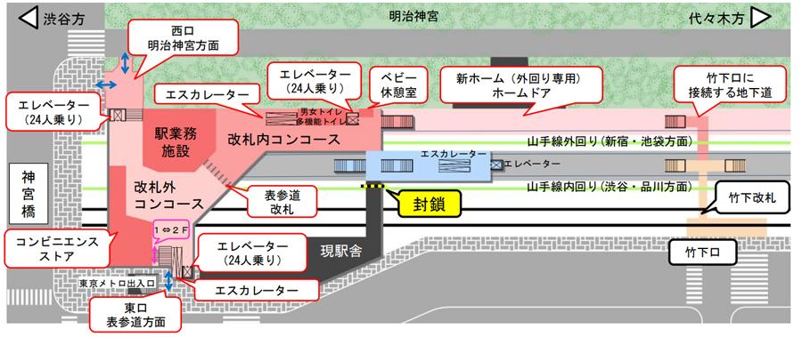 山手線|原宿駅|新駅舎|新ホーム|平面図