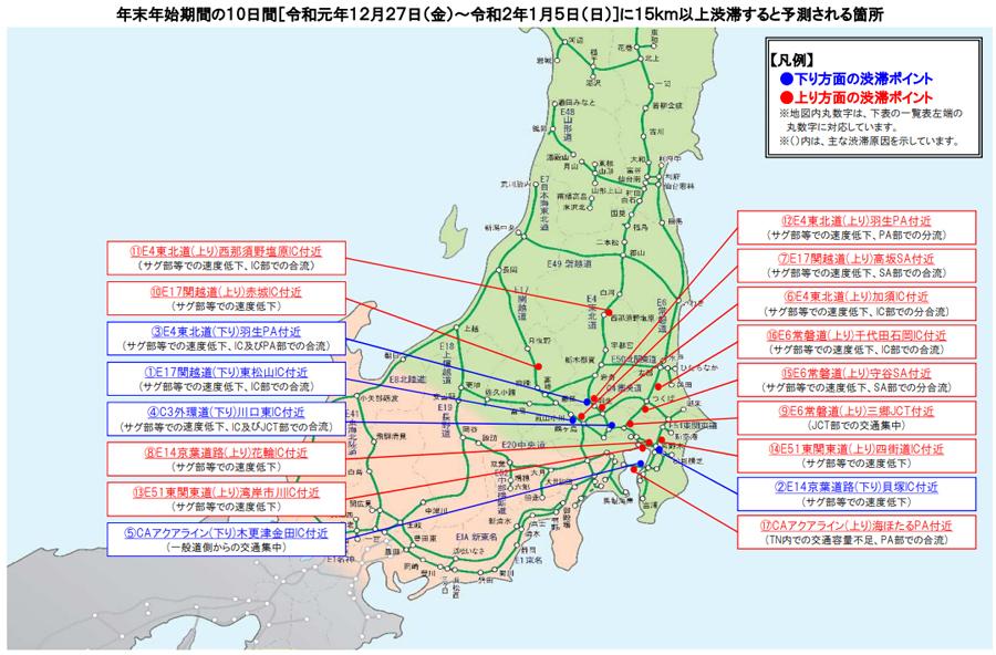 年末年始|渋滞予測|2019|2020|NEXCO東日本|主な渋滞箇所と要因