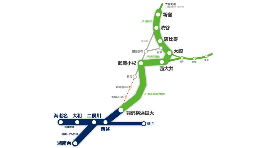 相鉄・JR直通運転|相模鉄道|羽沢横浜国大駅|都心直通|路線図