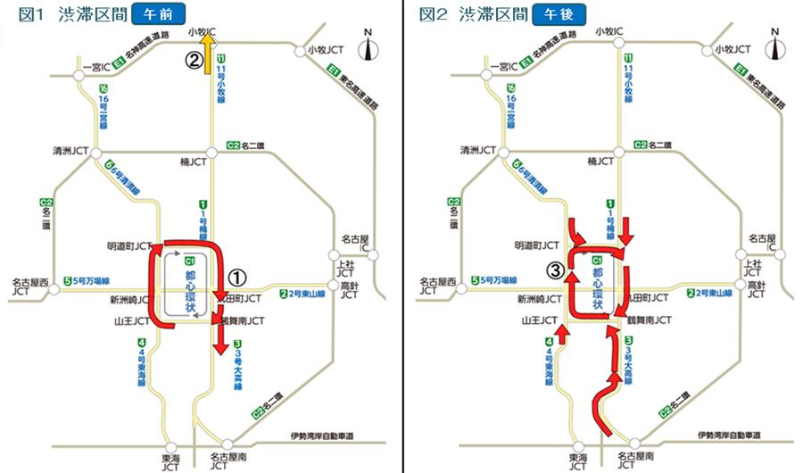 年末年始|渋滞予測|2019|2020|名古屋高速|渋滞予測図