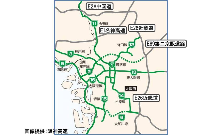 画像3。阪神高速および大阪周辺の都市間高速の広域ネットワーク図。