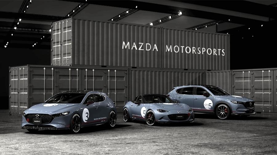 画像1。マツダが東京オートサロン2020に出展する「モータースポーツコンセプト」の3台。