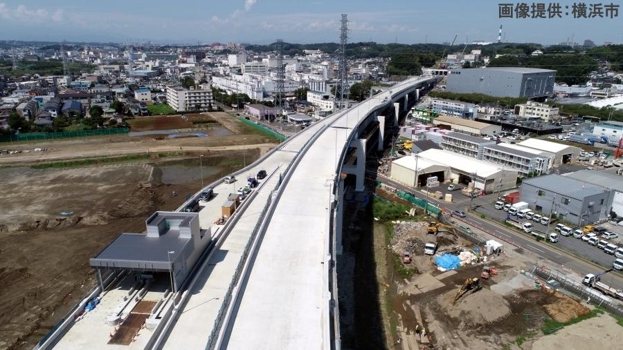 画像1。2020年3月22日(日)16時に開通する首都高・神奈川7号横浜北西線の建設中の様子。