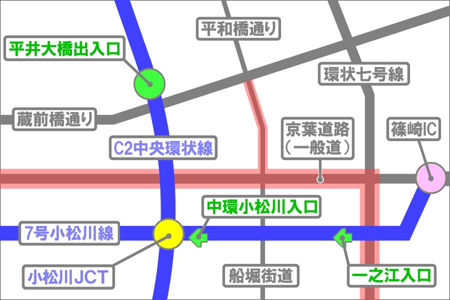 画像9。小松川JCT周辺の入口の交通量の変化と一般道。