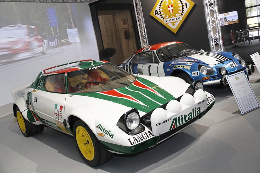 2018年に北部パドヴァで開催された古典車イベントにおける「ACIストリコ」の展示。1500平方メートルのブースに歴代ラリーカーが並べられた。