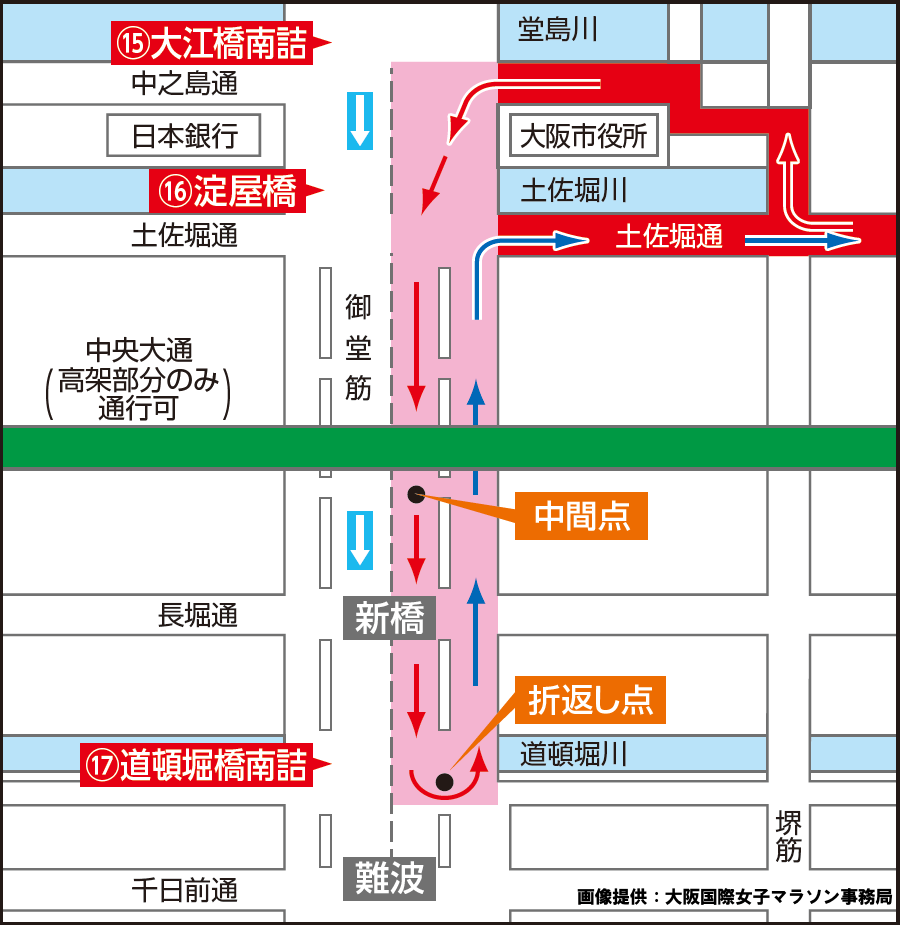 画像4。1月26日(日)に開催される第39回大阪国際女子マラソンのコースレイアウトの御堂筋周辺拡大図。