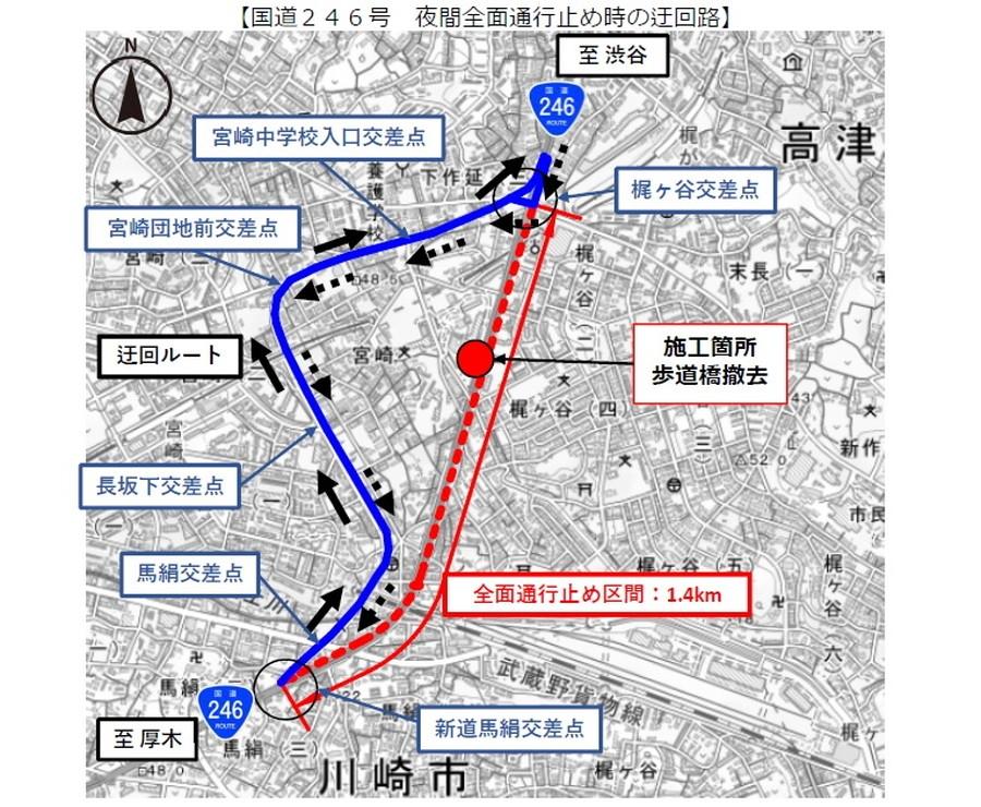 国道246号・梶ヶ谷交差点~新道馬絹交差点で夜間全面通行止めが実施される。