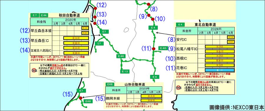 画像2。NEXCO東日本・東北地方のETC設備の長期工事が実施される出入口マップ(南側)。