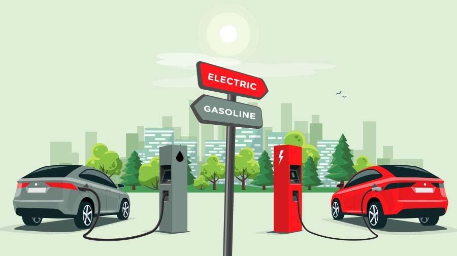 ガソリン車とEVの給油・給電のイメージ図