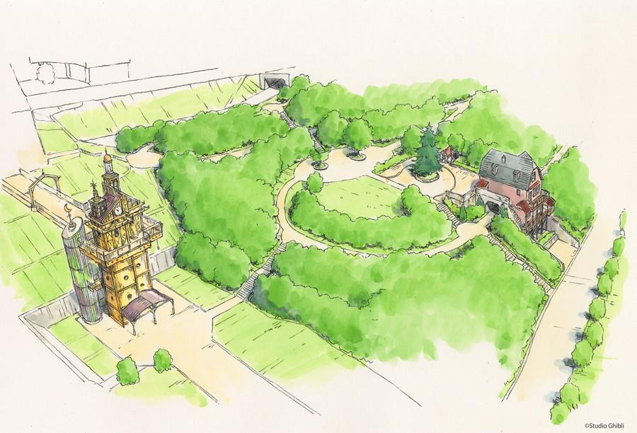 ジブリパーク「青春の丘エリア」 鳥瞰図。