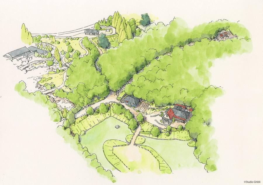 ジブリパーク「どんどこ森エリア」鳥瞰図。