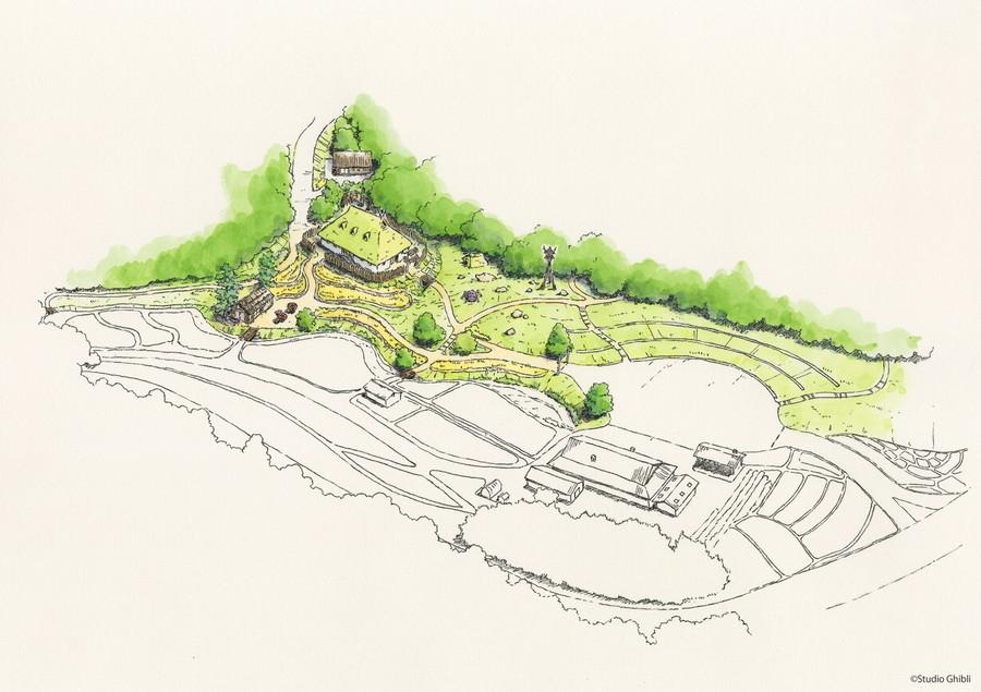 ジブリパーク「もののけの里エリア」鳥瞰図。