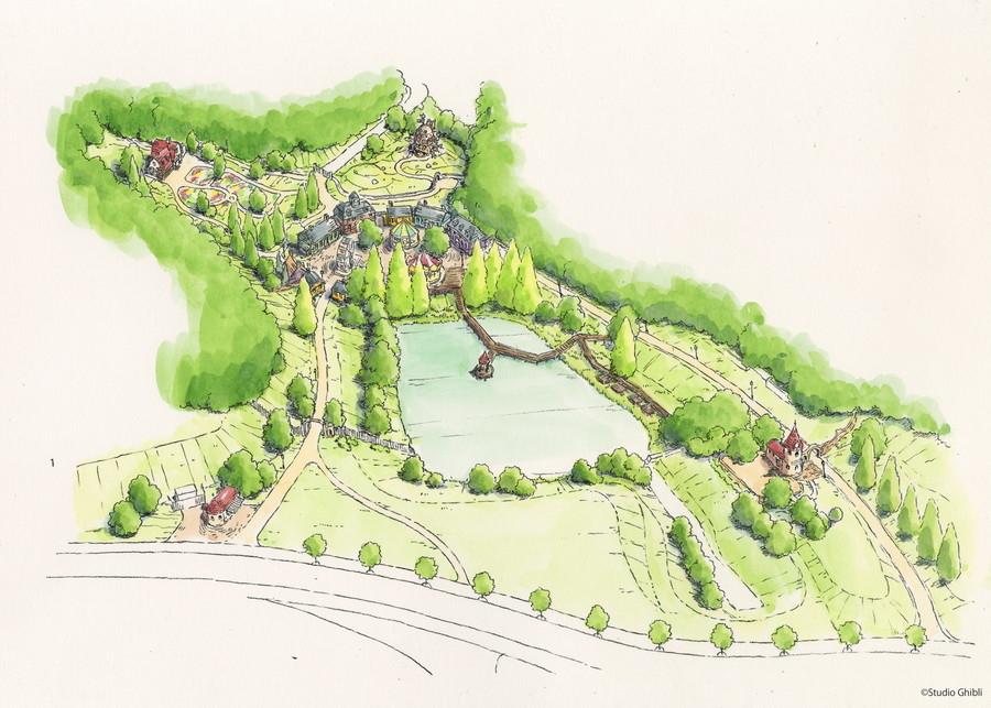 ジブリパーク「魔女の谷エリア」鳥瞰図。