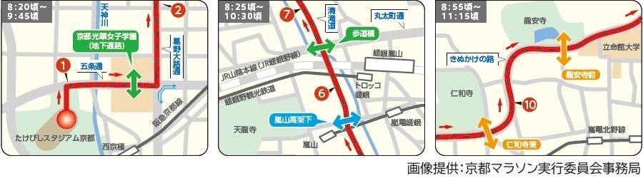 画像7。京都マラソン2020コース横断可能箇所のマップ。区間1、6・7、10。