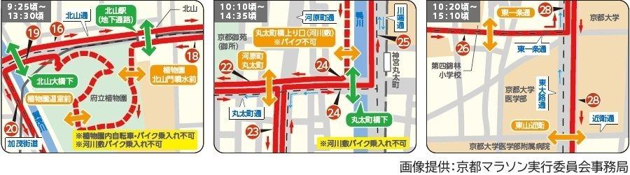 画像9。京都マラソン2020のコース横断可能箇所のマップ。区間16、19、21・22・24、26・28。