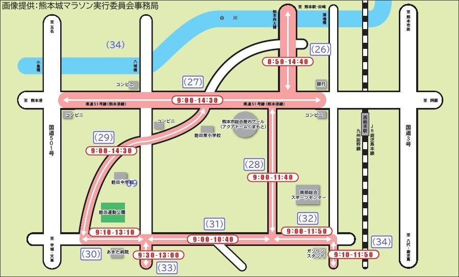 画像6。熊本城マラソン2020の通行規制マップ。熊本港線~飽田エリア。