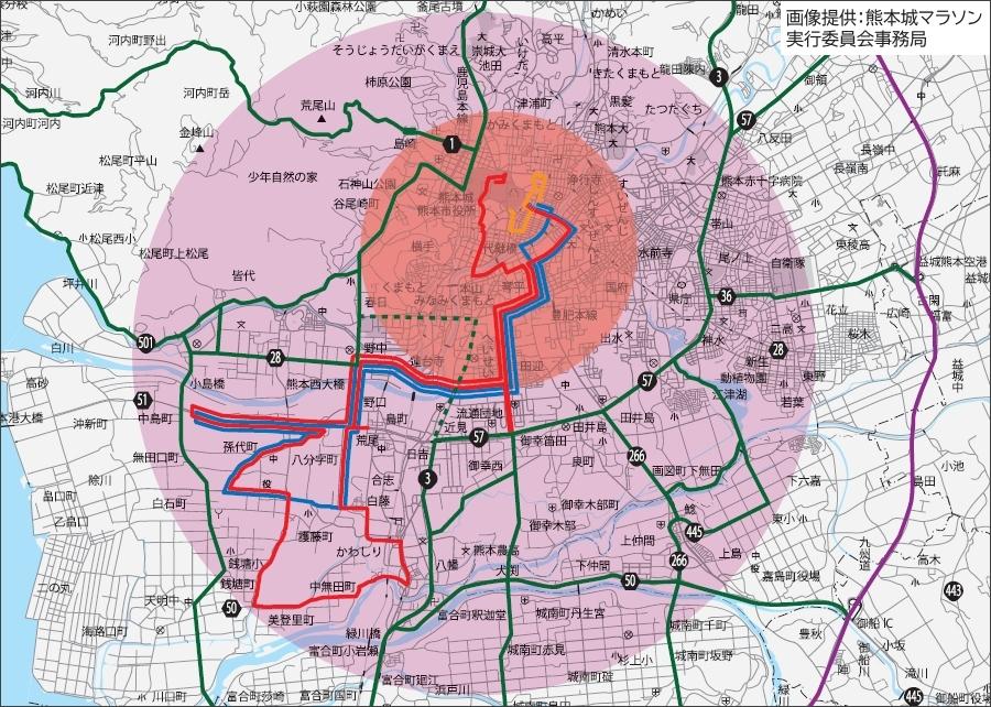 画像8。熊本マラソン2020が実施される2月16日に予想される渋滞エリア(紫色)。オレンジは特に激しいエリア。