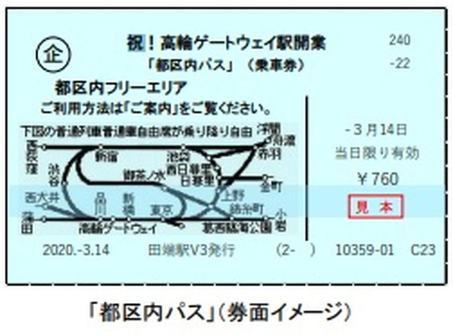 高輪ゲートウェイ駅開業記念商品:オリジナルメッセージ印字「都区民パス」イメージ。