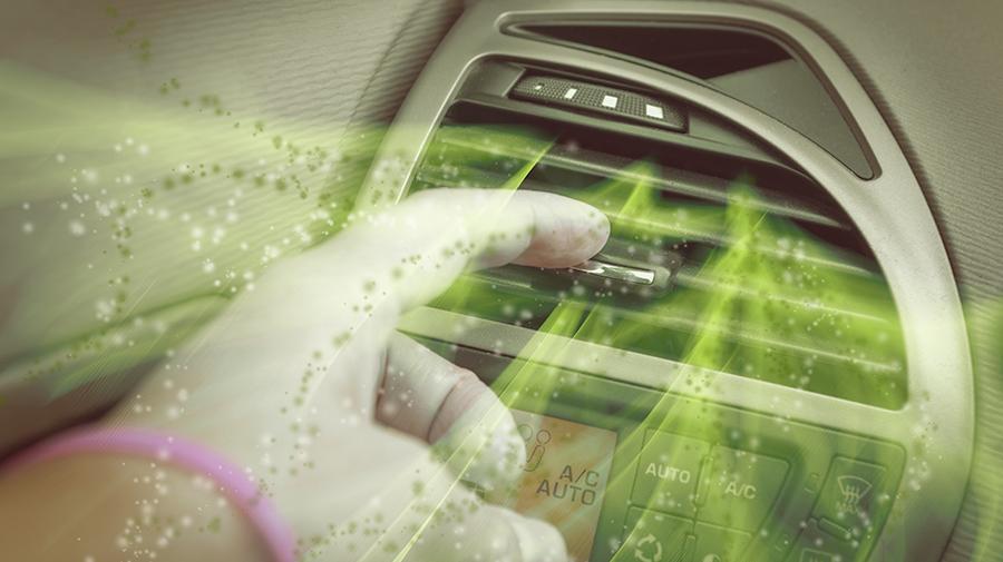 車内に浮遊する花粉のイメージ写真