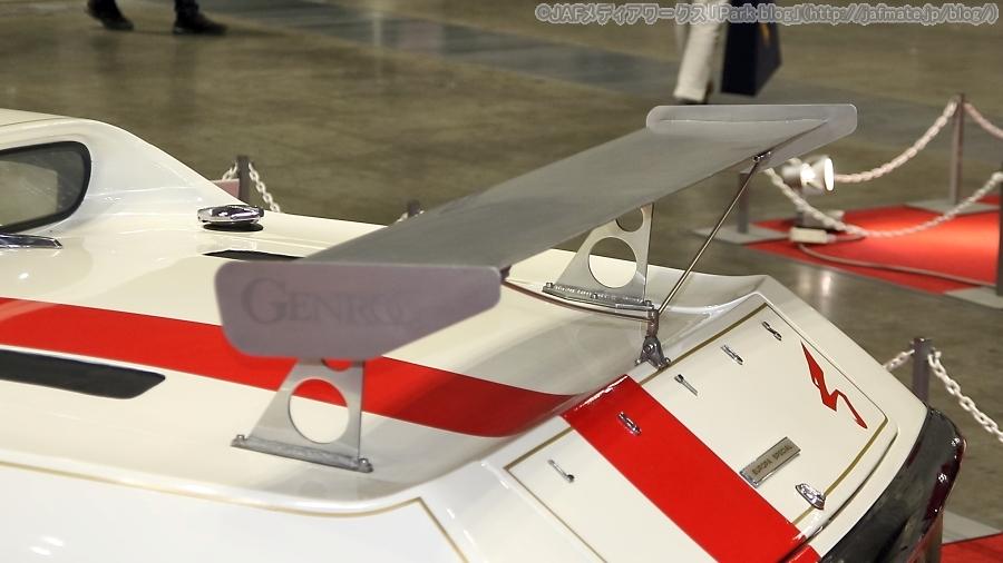画像4。第12回ノスタルジック2デイズに出展された、ロータス「ヨーロッパ SP 風吹裕矢仕様」のGTウイング。