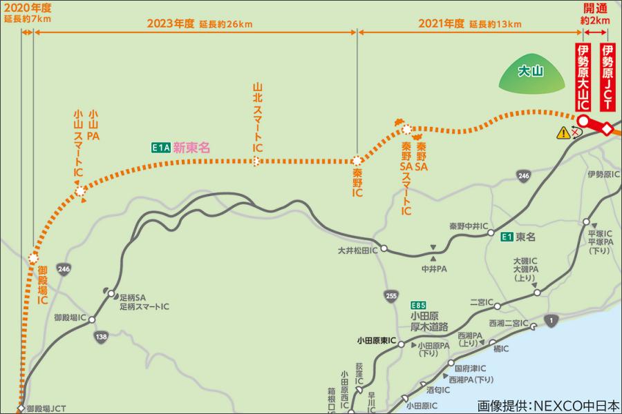 画像1。E1A新東名高速の工事中区間約48kmの開通年度。工事中区間のIC、SA・PAは仮称。