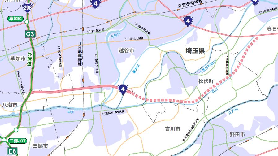 埼玉県東部地区で建設が進む国道4号「東埼玉道路」の開通区間と計画ルート。