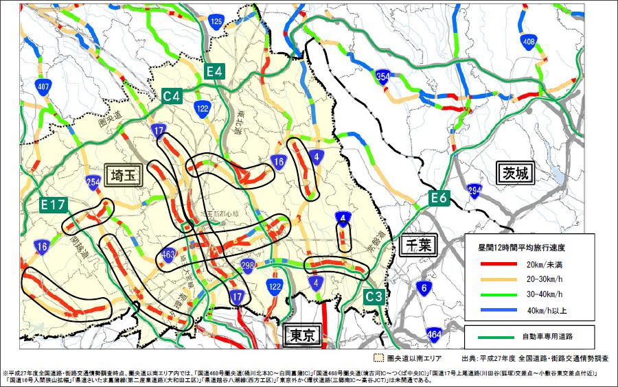 画像1。埼玉県のC4圏央道以南地域の交通状況(昼間12時間平均旅行速度)。