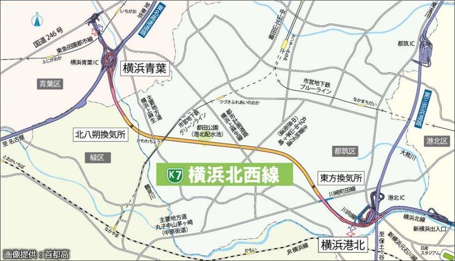 画像2。首都高・神奈川7号横浜北西線の全線マップ。両端にIC・JCTがある。
