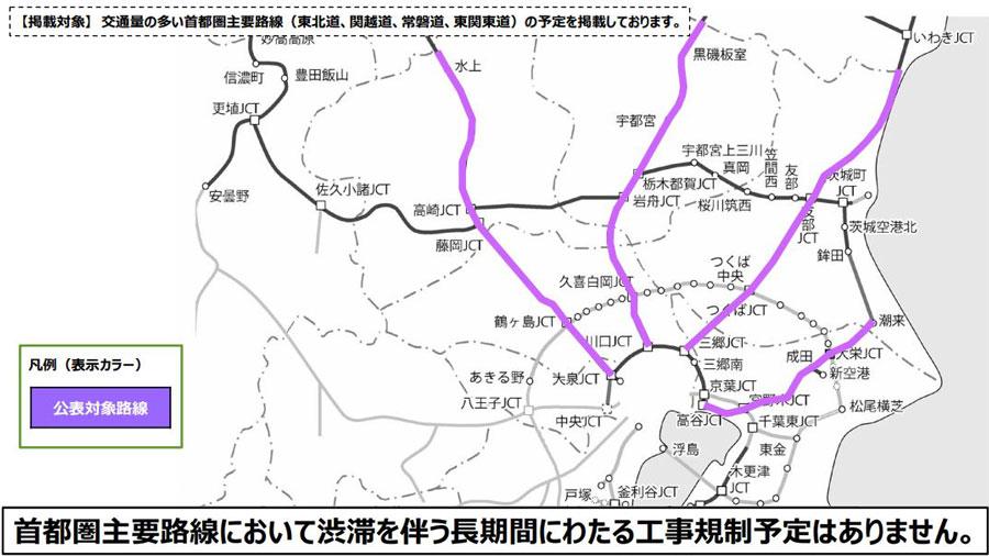 高速道路 工事規制 通行規制 2020年 NEXCO東日本の対象区間