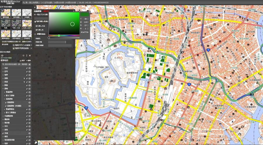 「地理院地図Vector(仮称)」の編集例。
