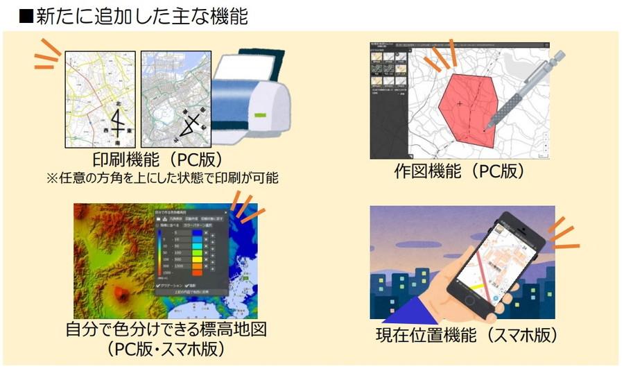 「地理院地図Vector(仮称)」の新機能概要。