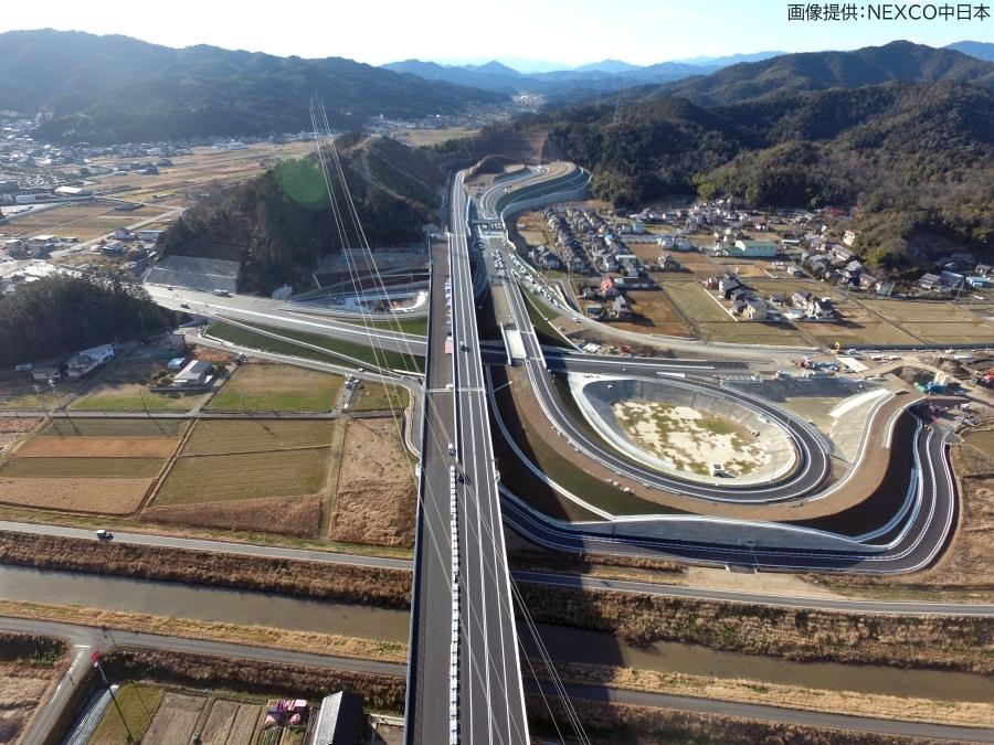 画像1。NEXCO中日本のC3東海環状道で、3月20日(金・祝)に開通する山県IC。