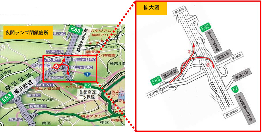 閉鎖される横浜新道上り線の保土ヶ谷ICから第三京浜と首都高速三ツ沢線へのランプ