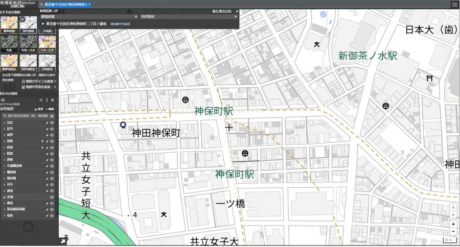 「地理院地図Vector(仮称)」の編集画面例1