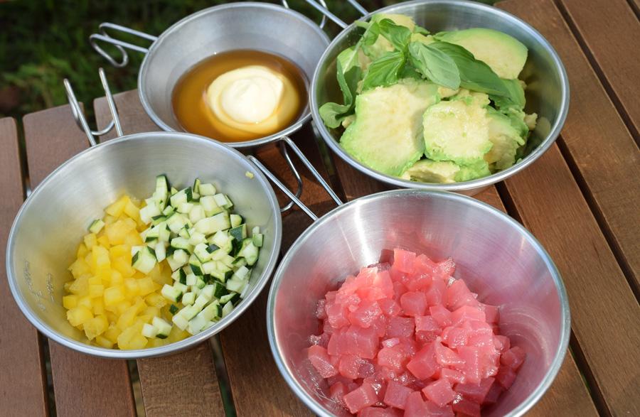 キャンプ料理|レシピ|マグロとアボカドのディップ|材料|エスニック