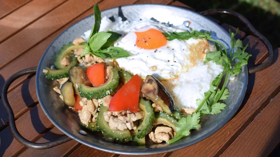 軽キャンピングカー キャンプ料理 夏野菜のガパオ炒め 盛り付け 