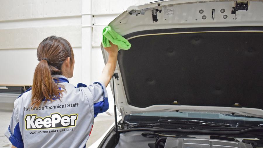 洗車の仕方|洗車方法|コツ|キーパー|プロ|キーパー|洗車方法|水の残りやすいところを拭き上げ