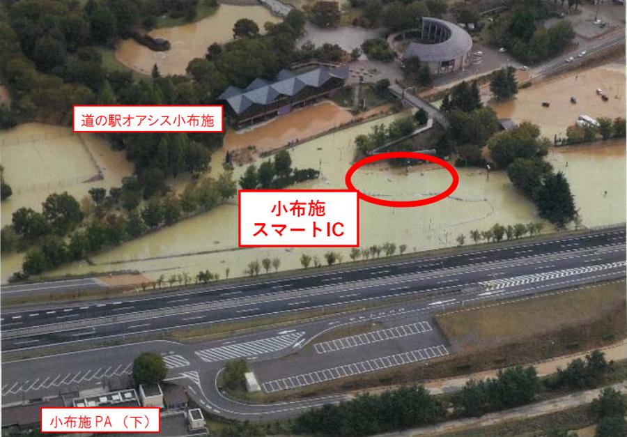 台風19号による高速道路の通行止め|小布施スマートICの浸水被害状況(全景)