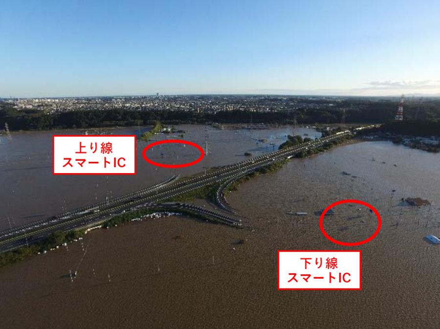 台風19号による高速道路の通行止め|水戸北スマートICの浸水被害状況(全景)