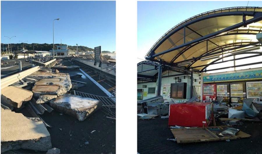 台風19号の影響による通行止め区間|西湘PA(下)が高波の影響で損壊