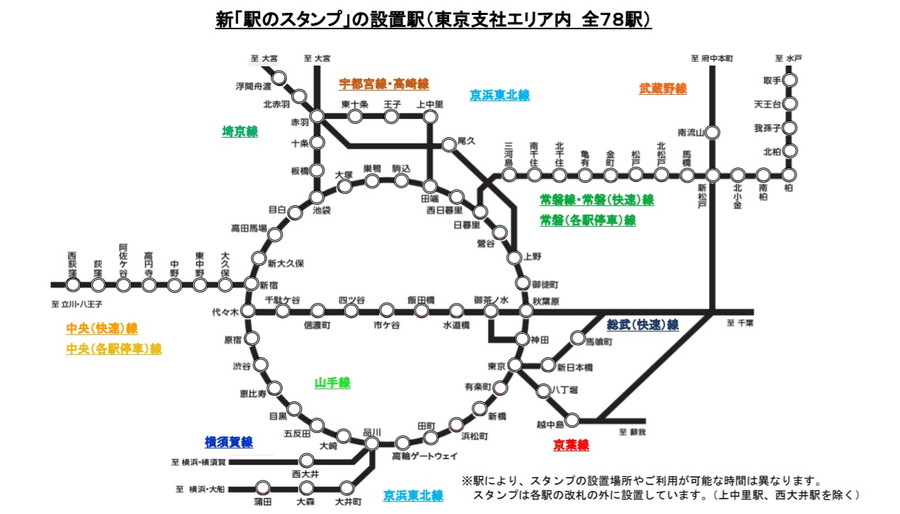 「駅のスタンプ」の設置駅(JR東日本東京支社エリア内)